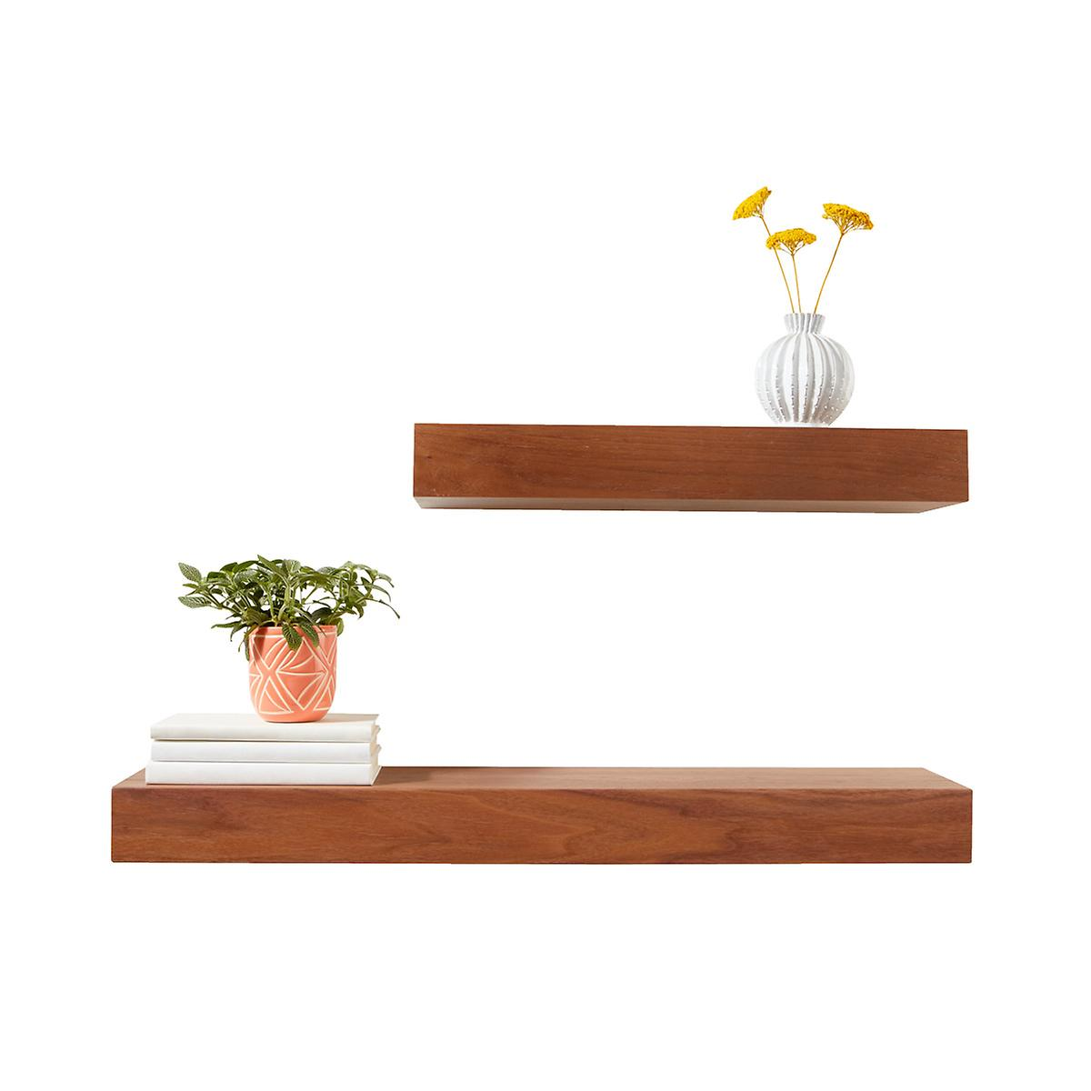 Floting Shelves walnut floating shelves | the container store
