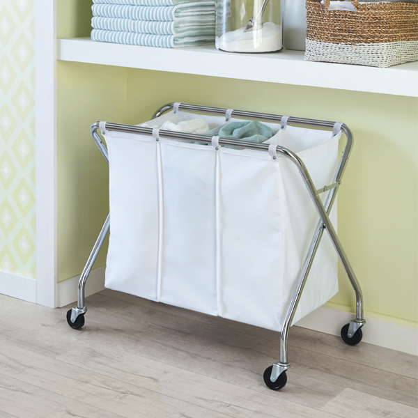 Heavy-Duty 3-Bin Rolling Laundry Sorter with Wheels