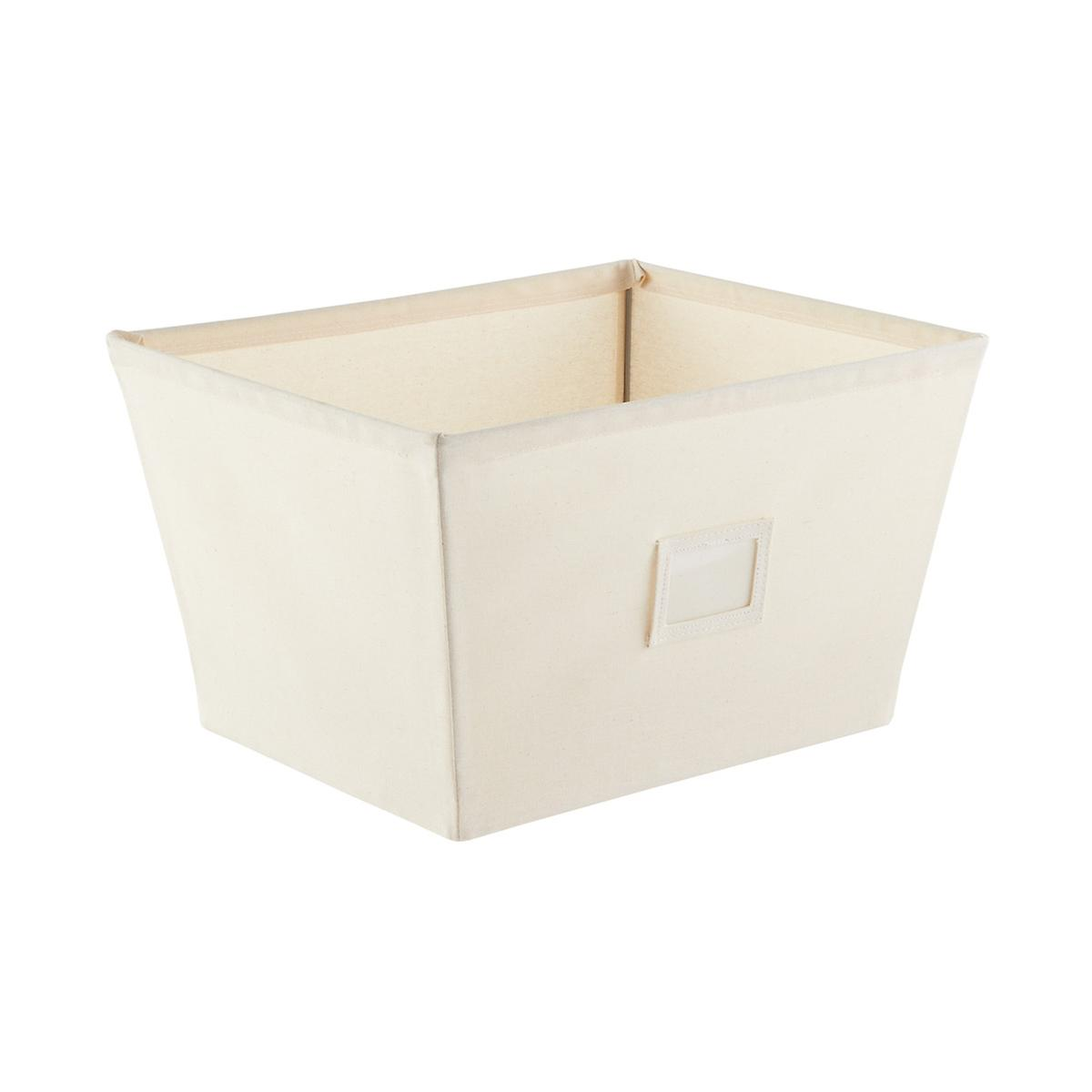 Fabric storage bins natural open canvas storage bins for Fabric storage