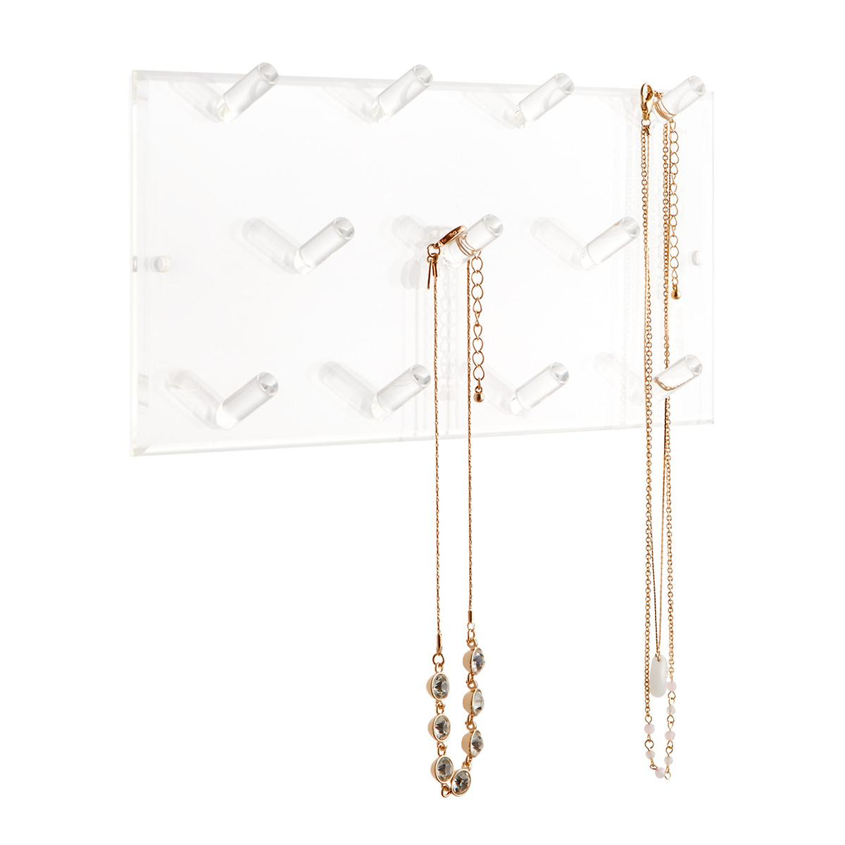 11-Peg Acrylic Necklace Wall Rack
