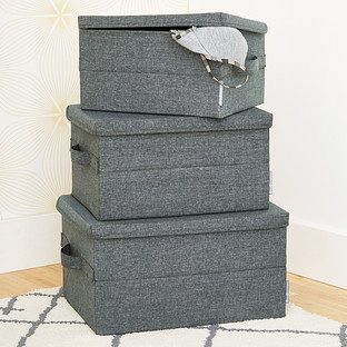 Etonnant Bigso Grey Soft Storage Boxes With Handles