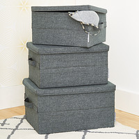 Bigso Grey Soft Storage Boxes with Handles Product Image