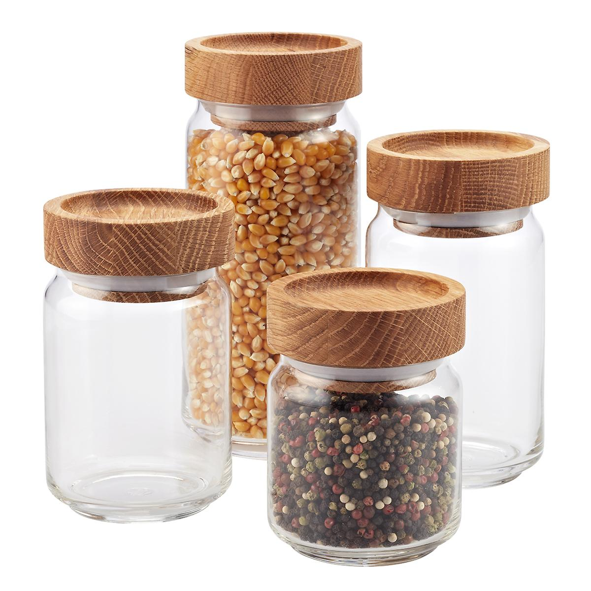 Glass kitchen canisters - Artisan Glass Canisters With Oak Lids