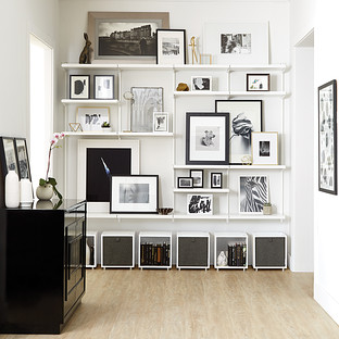 White & White Elfa Décor Shelving Wall