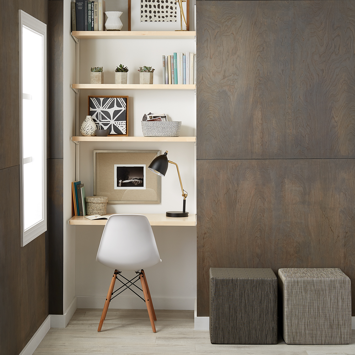 Awesome Birch U0026 White Elfa Décor Office Nook