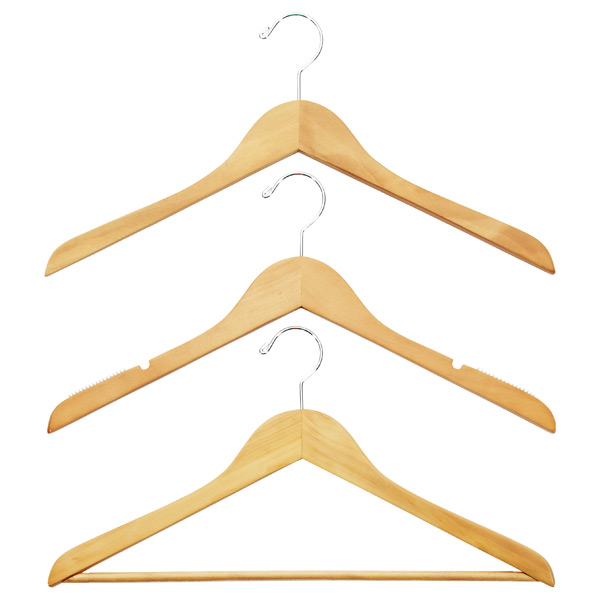 Petite Basic Natural Wooden Hangers Pkg/6