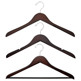 Petite Basic Walnut Wooden Clothes Hangers Pkg/6