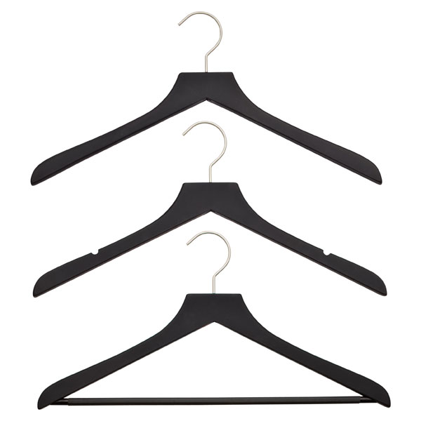 Petite Basic Black Soft Matte Wooden Hangers Pkg/3