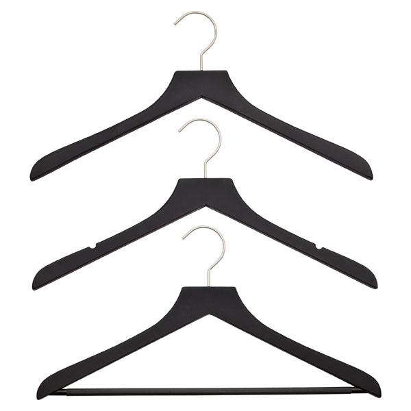 Petite Basic Black Soft Matte Wooden Hangers Pkg/3
