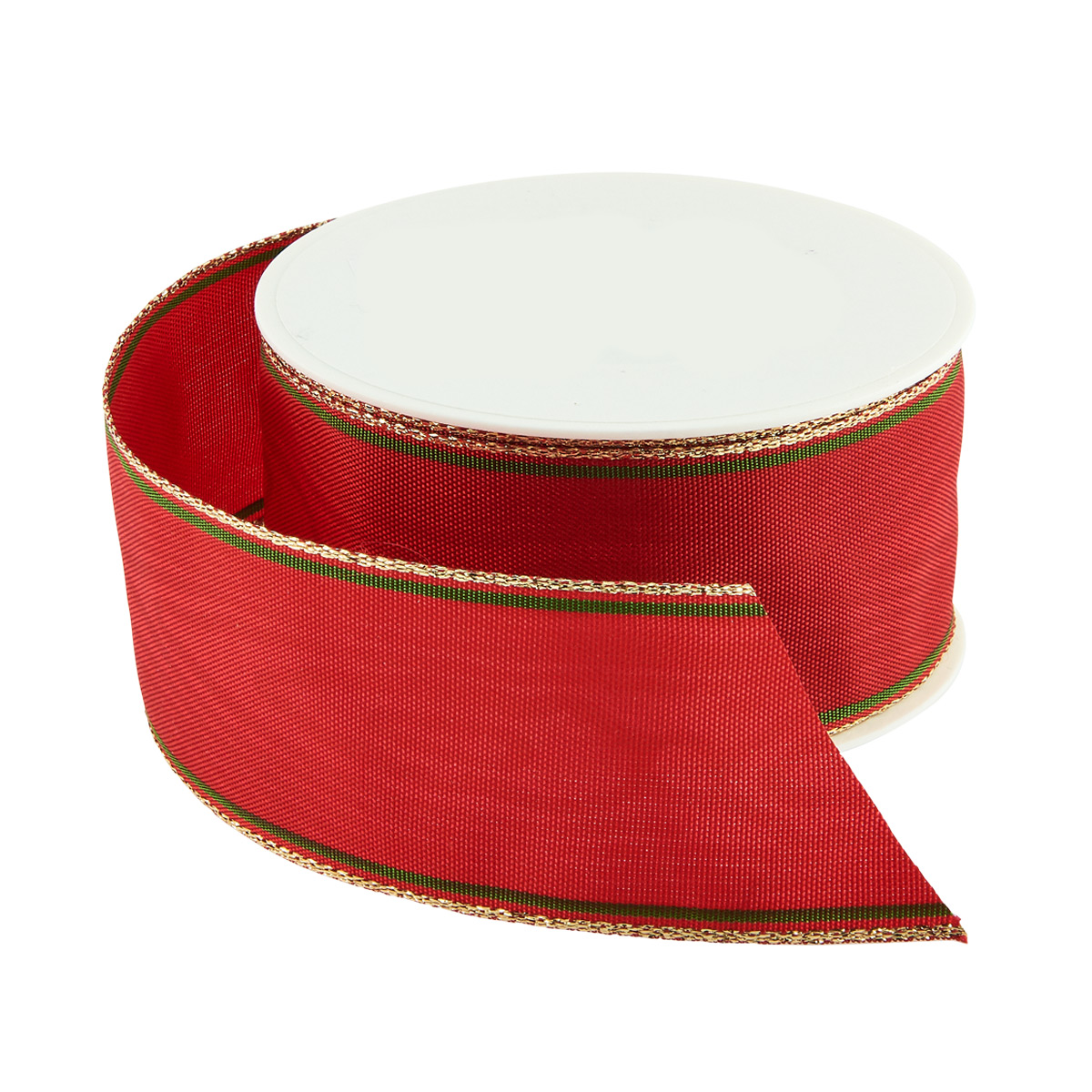 Metallic Red & Green Morie Wired Ribbon
