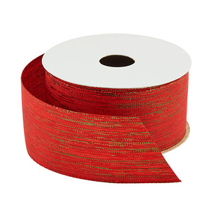Red & Green Shimmer Woven Ribbon