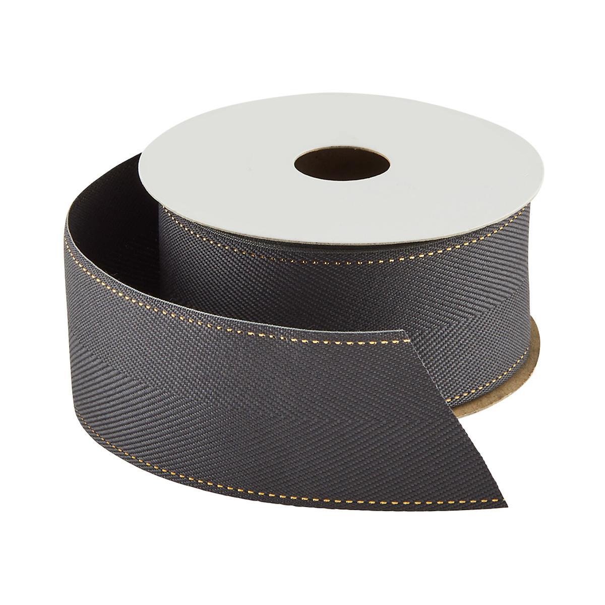 Dark Grey with Gold Stitch Herringbone Ribbon