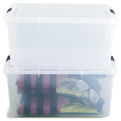 17 gal. Clear Tote with Locking Lid Case of 5