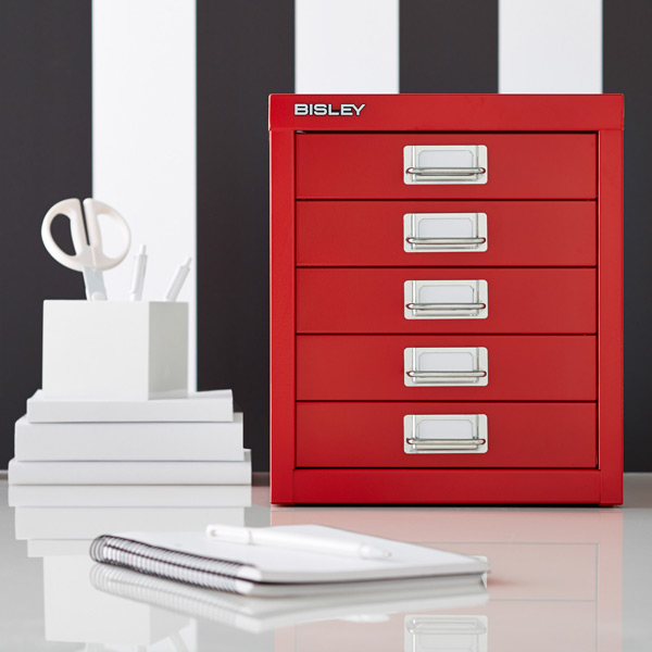 Red Bisley 5-Drawer Cabinet