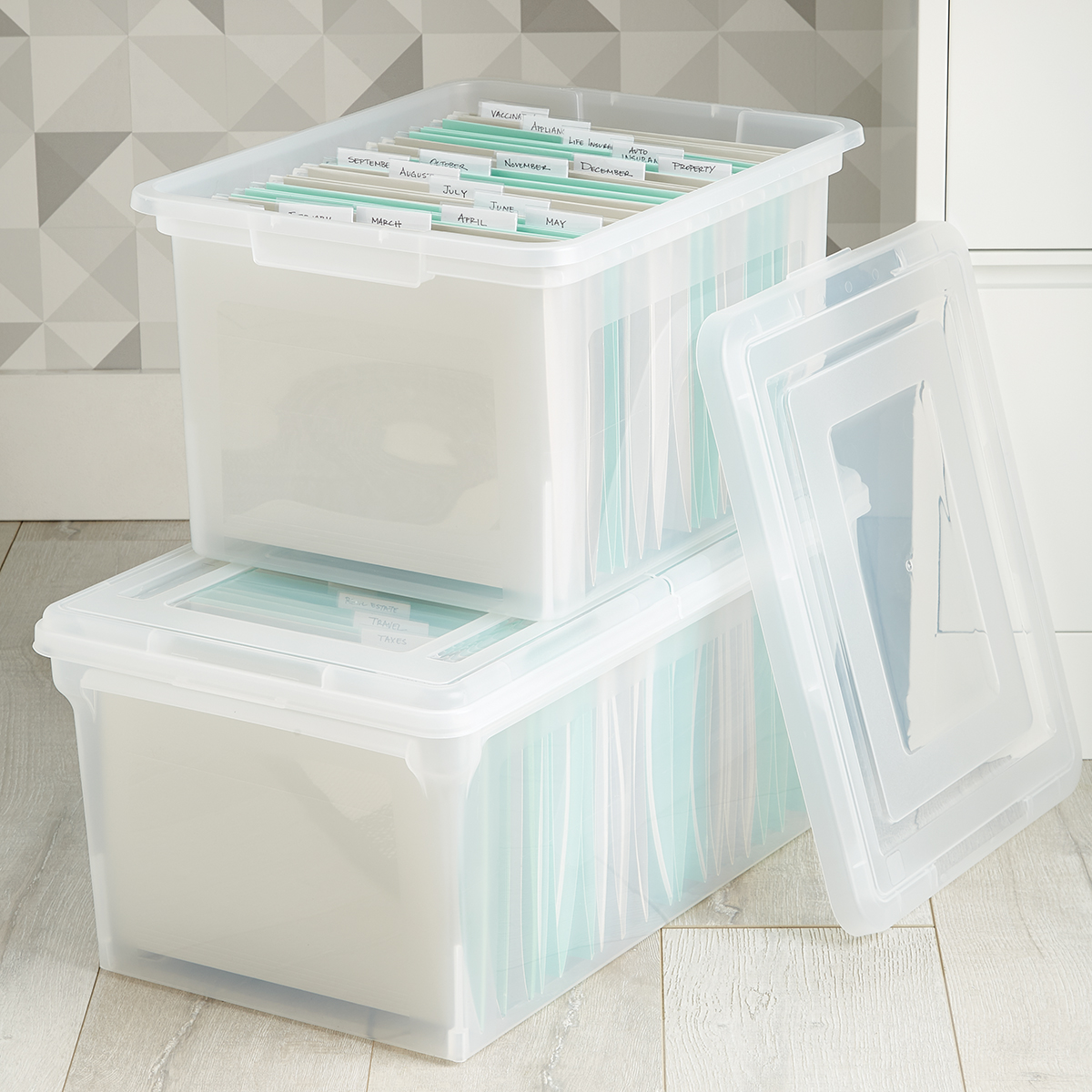 Clear Stackable File Tote Boxes
