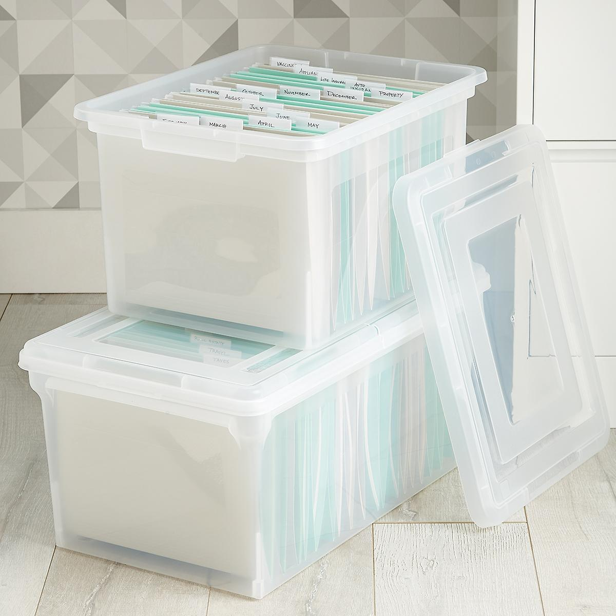 Clear Stackable File Tote Bo