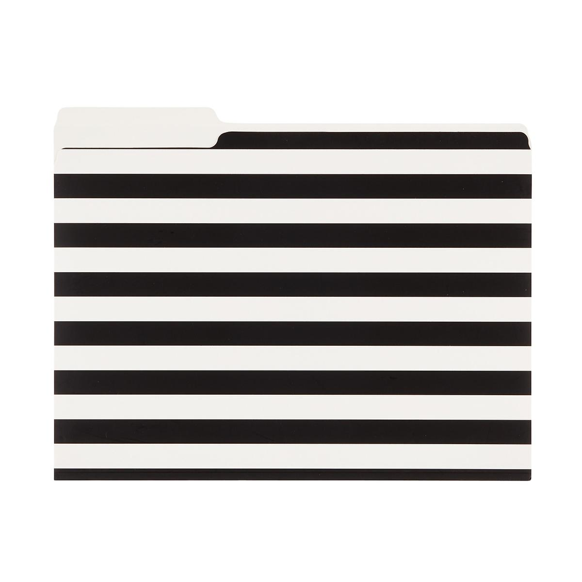 Black and White Stripe Letter-Size Interior File Folders
