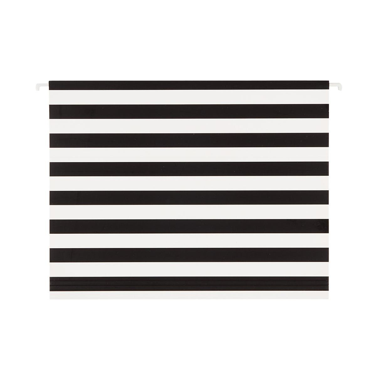 Black and White Stripe Letter-Size Hanging File Folders