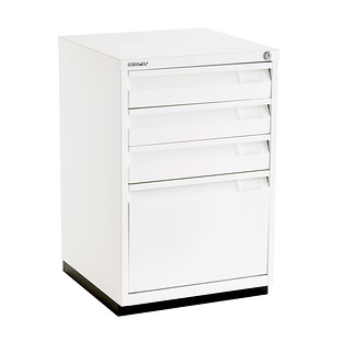 Bisley White Premium 4 Drawer Locking Filing Cabinet