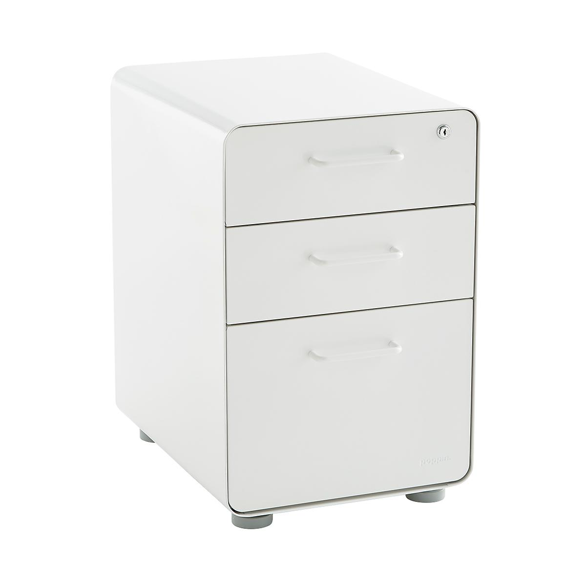White Poppin 3-Drawer Stow File Cabinet