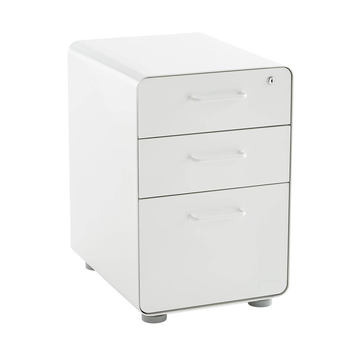 Poppin White 3 Drawer Stow Locking Filing Cabinet
