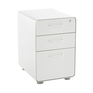 Poppin White 3-Drawer Stow Locking Filing Cabinet