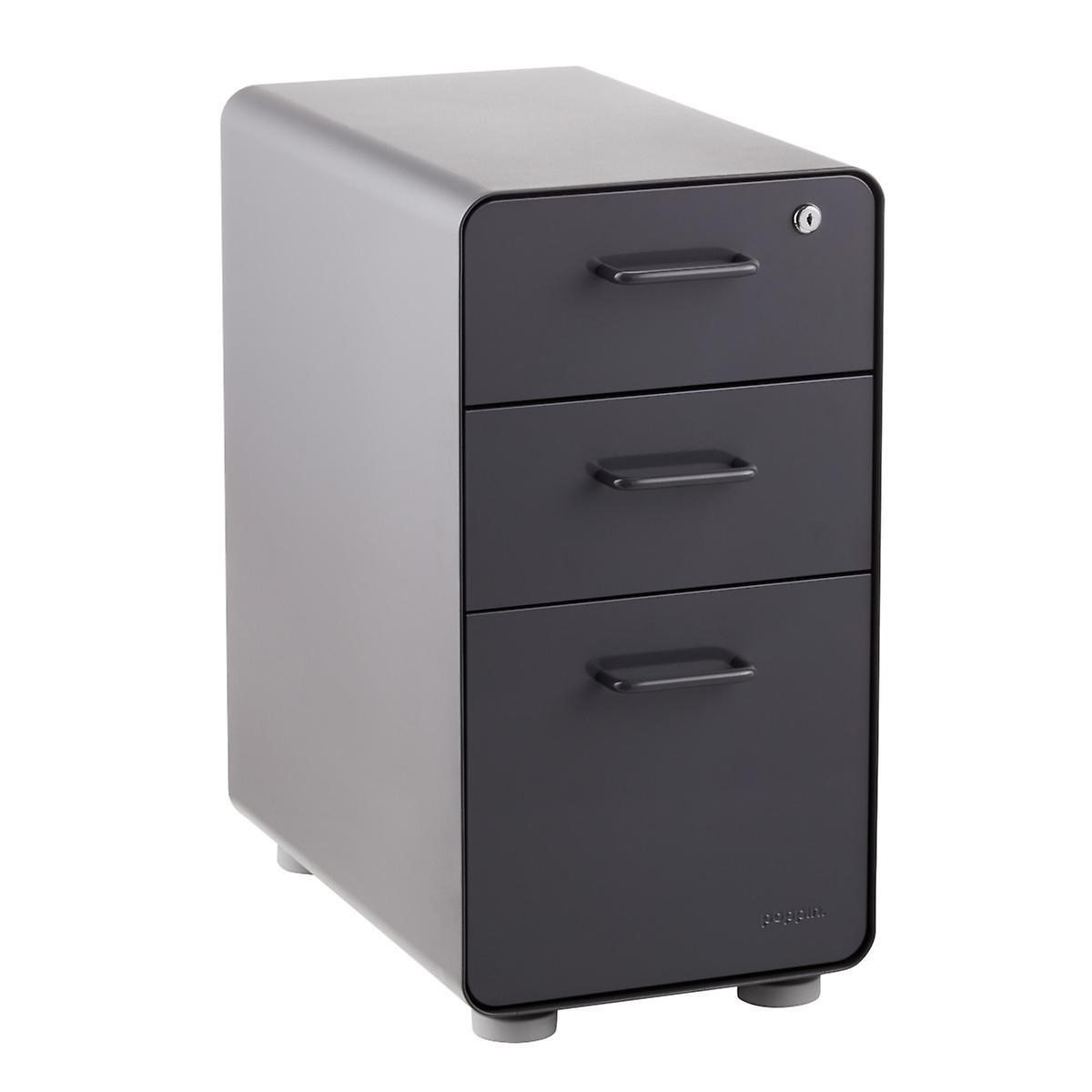 Poppin Dark Grey Slim 3 Drawer Stow Filing Cabinet The
