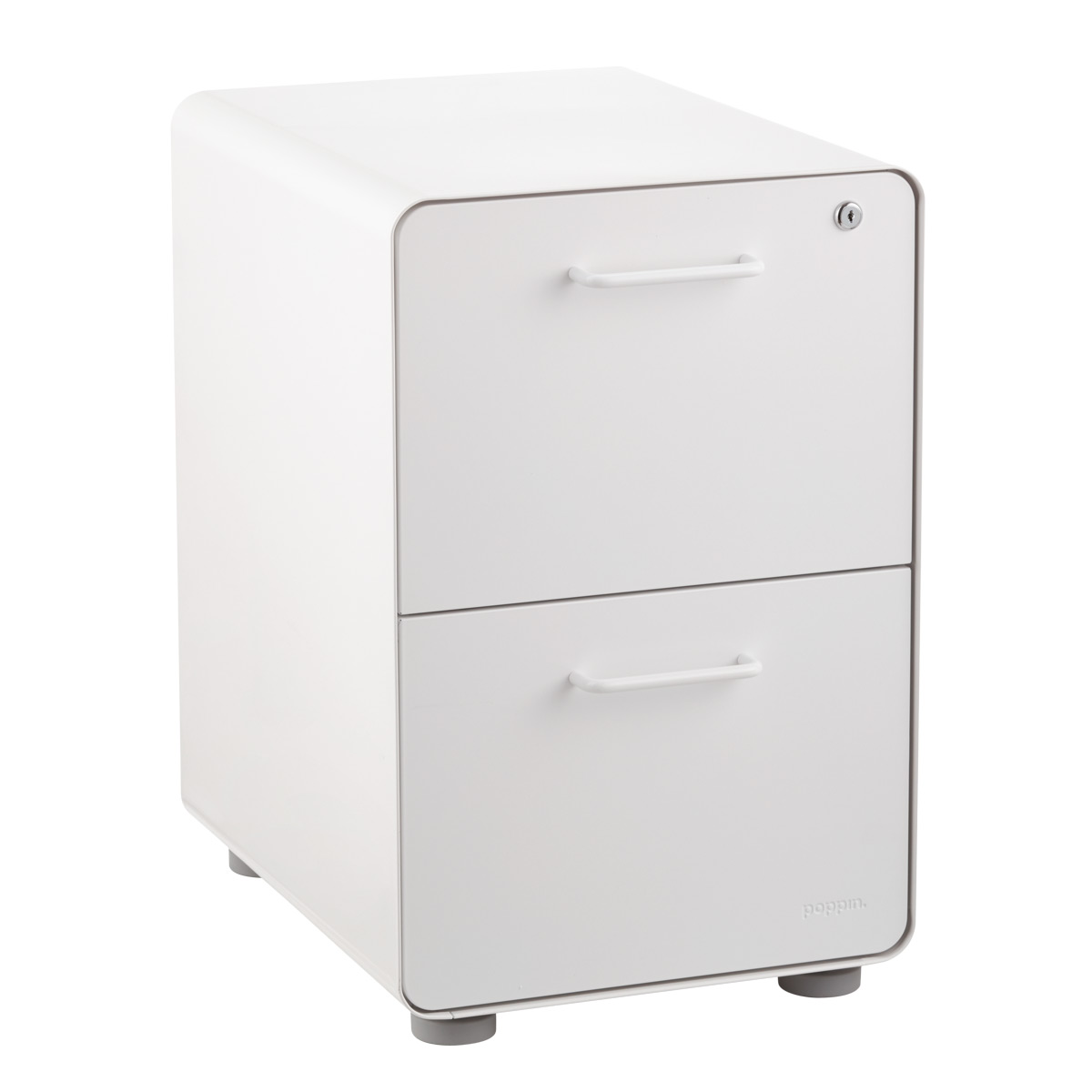 Poppin White 2-Drawer Stow Locking Filing Cabinet