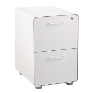 Poppin White 2 Drawer Locking Stow Filing Cabinet