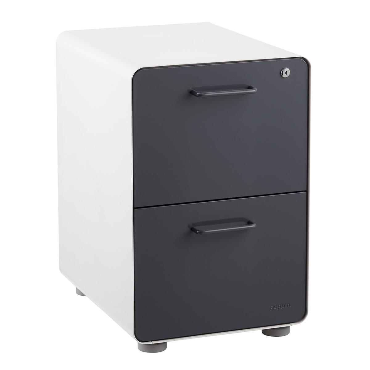 Poppin Dark Grey 2-Drawer Stow Locking Filing Cabinet
