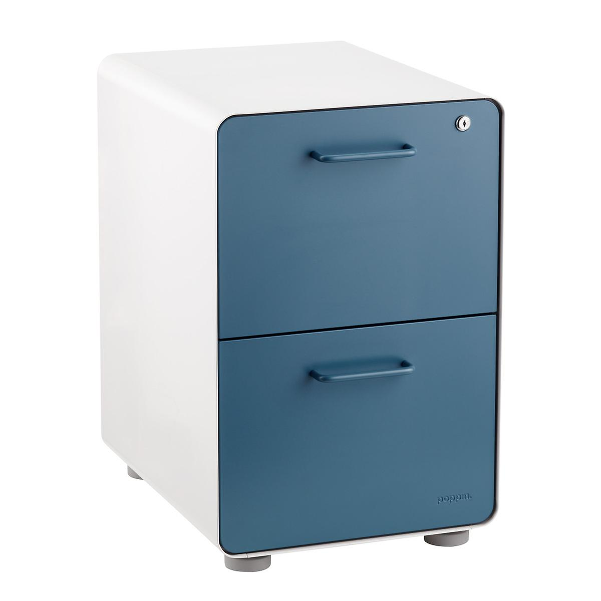 Poppin Slate Blue 2-Drawer Stow Locking Filing Cabinet