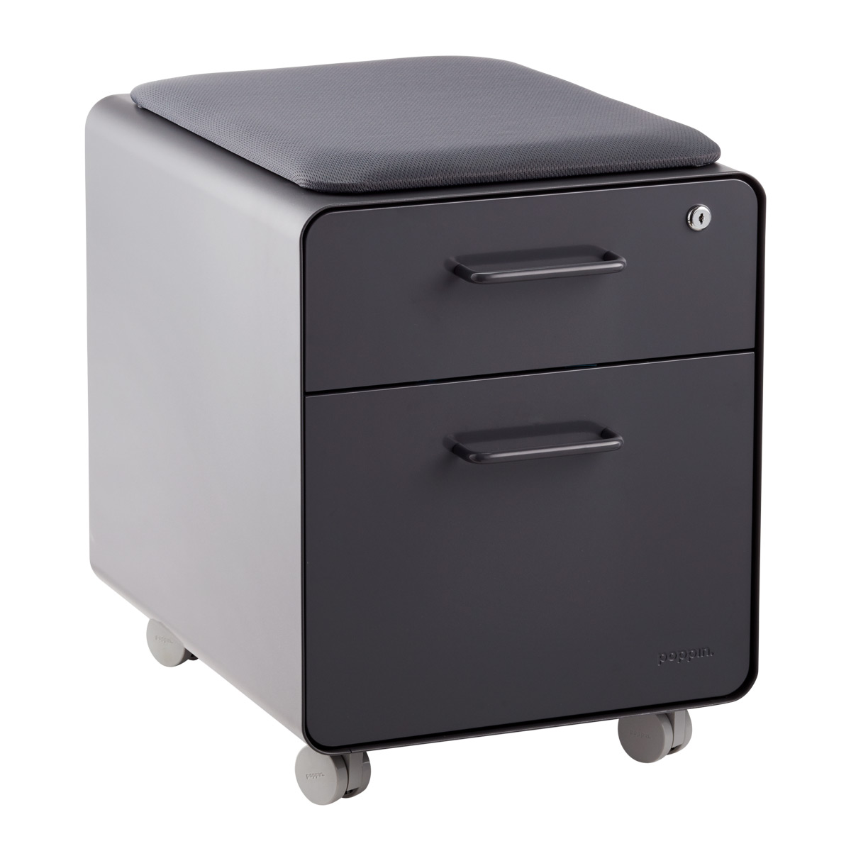 Poppin Dark Grey Mini 2 Drawer Stow Filing Cabinet With Seat