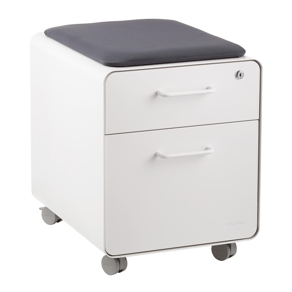 Poppin White 2 Drawer Mini Stow Filing Cabinet With Seat