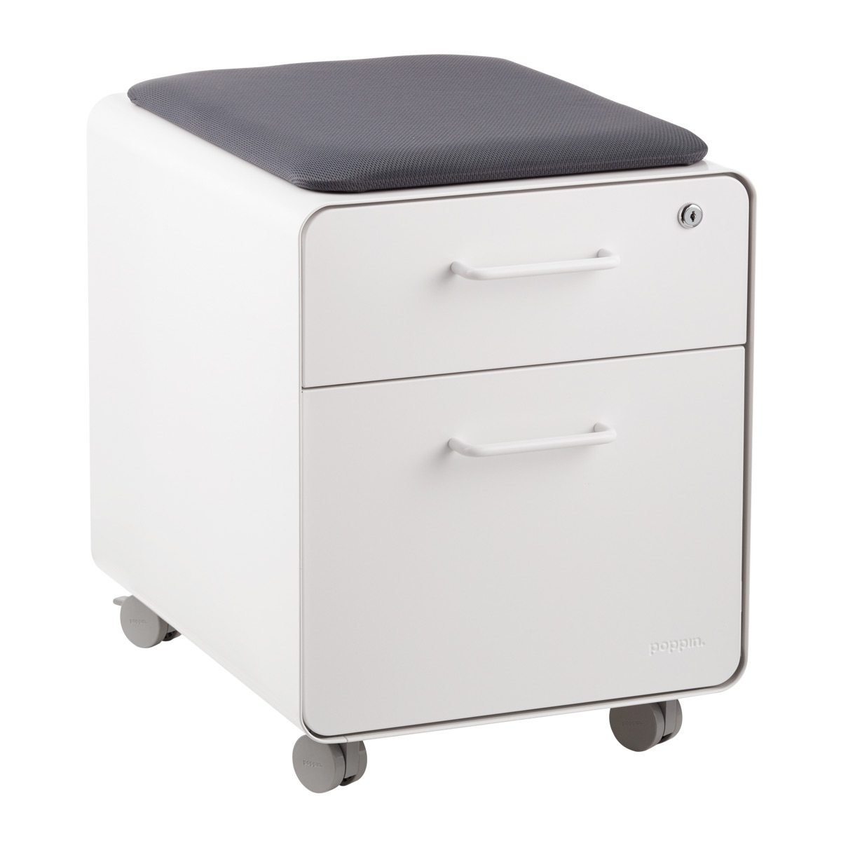 Attrayant Poppin White 2 Drawer Mini Stow Filing Cabinet With Seat