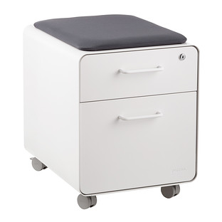 Poppin White 2-Drawer Mini Stow Filing Cabinet with Seat