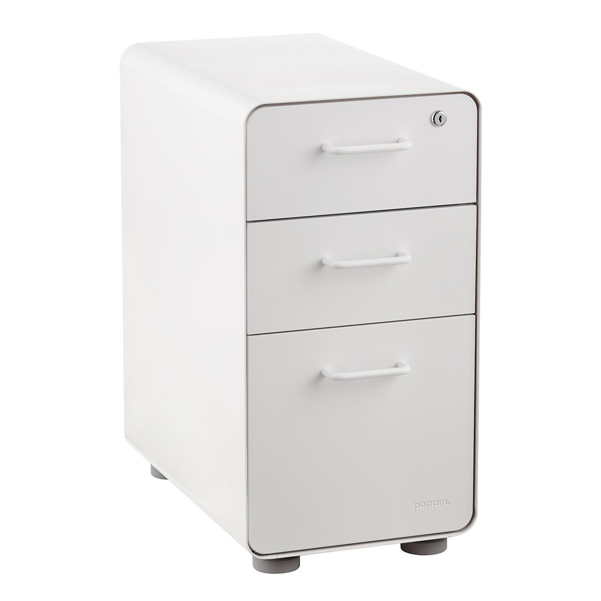 Poppin White Slim 3-Drawer Stow Filing Cabinet