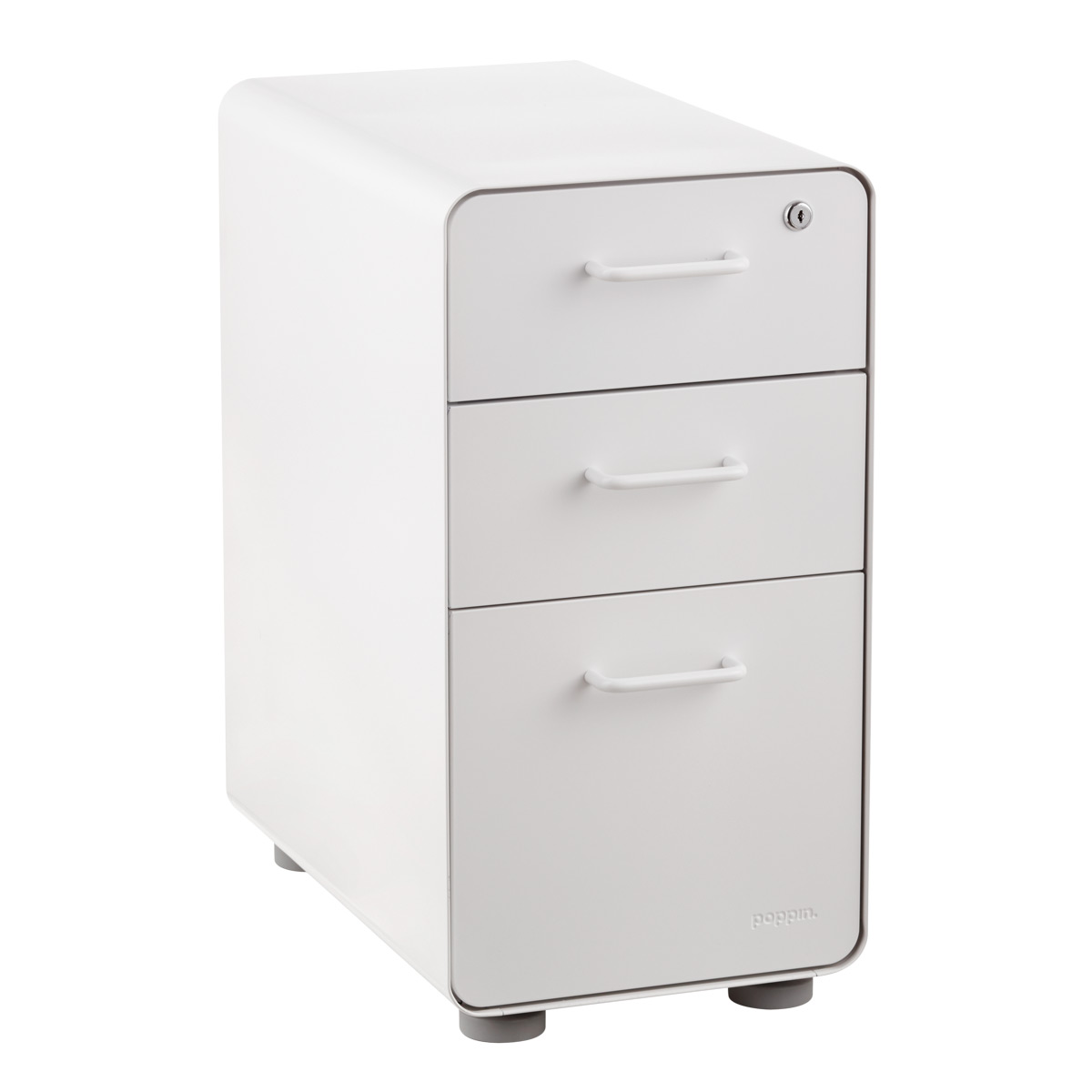 Poppin White Slim 3 Drawer Stow Filing Cabinet