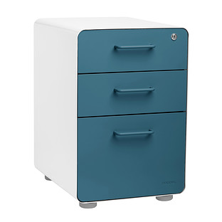 Poppin Slate Blue 3-Drawer Stow Locking Filing Cabinet