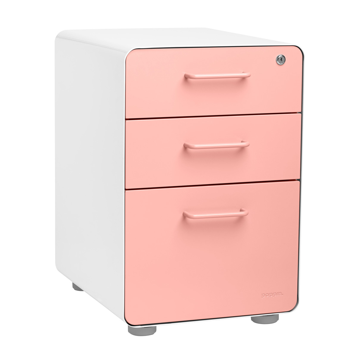 Poppin Blush 3-Drawer Stow Locking Filing Cabinet