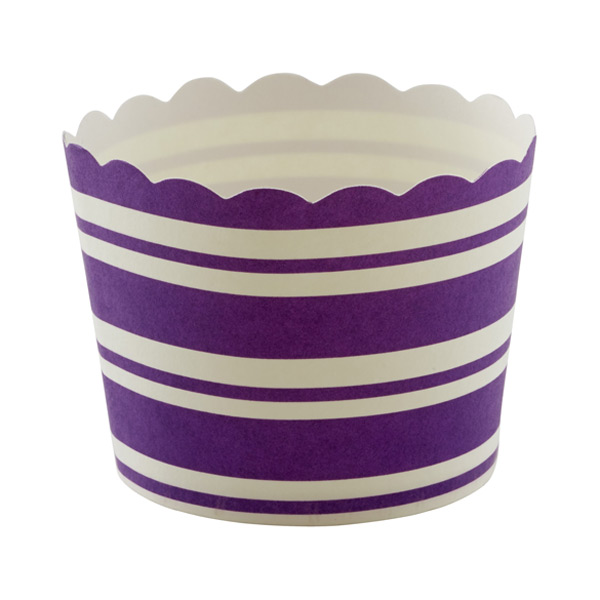 Small Purple Stripe Baking Cups