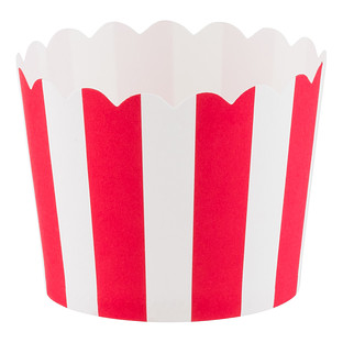Small Red Awning Stripe Baking Cups