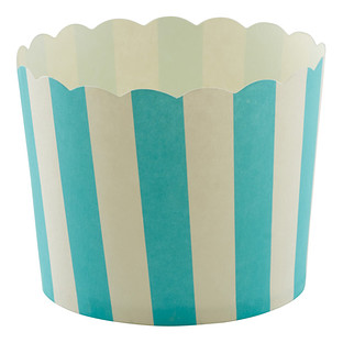 Large Aqua Awning Stripe Baking Cups