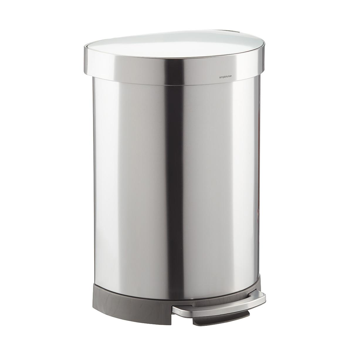 simplehuman Brushed Stainless Steel 16 gal./60L Semi-Round Can
