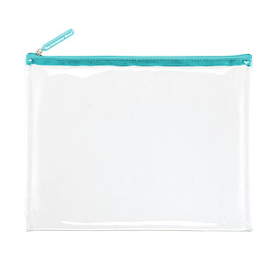 Large Aqua Zippered Clear Pouch