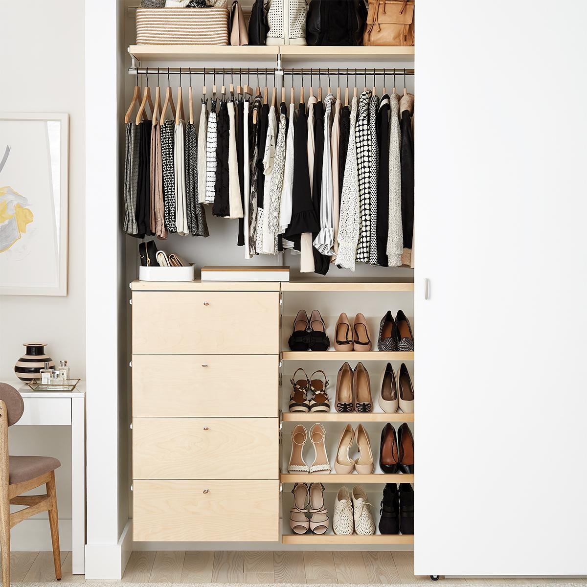 Elfa Décor 4' Birch & White Small Reach-In Closet
