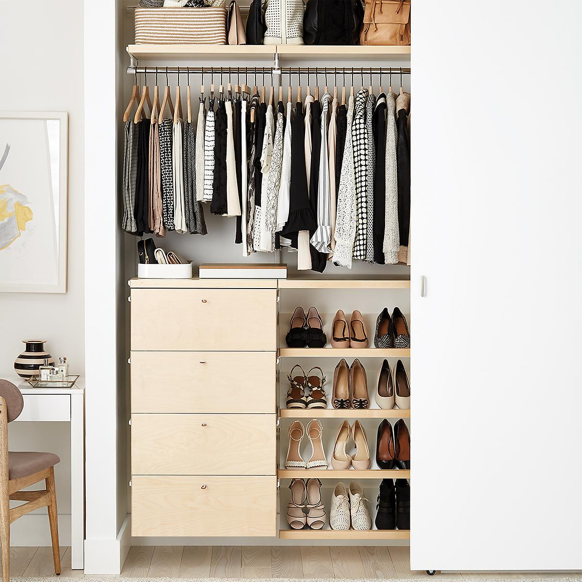 Elfa Décor 4' Birch & White Small Reach-In Closet