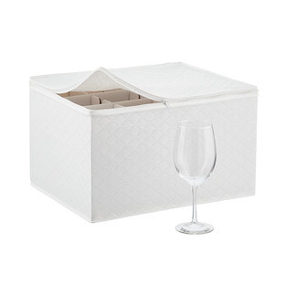 White Quilted Wine Glass Storage Case