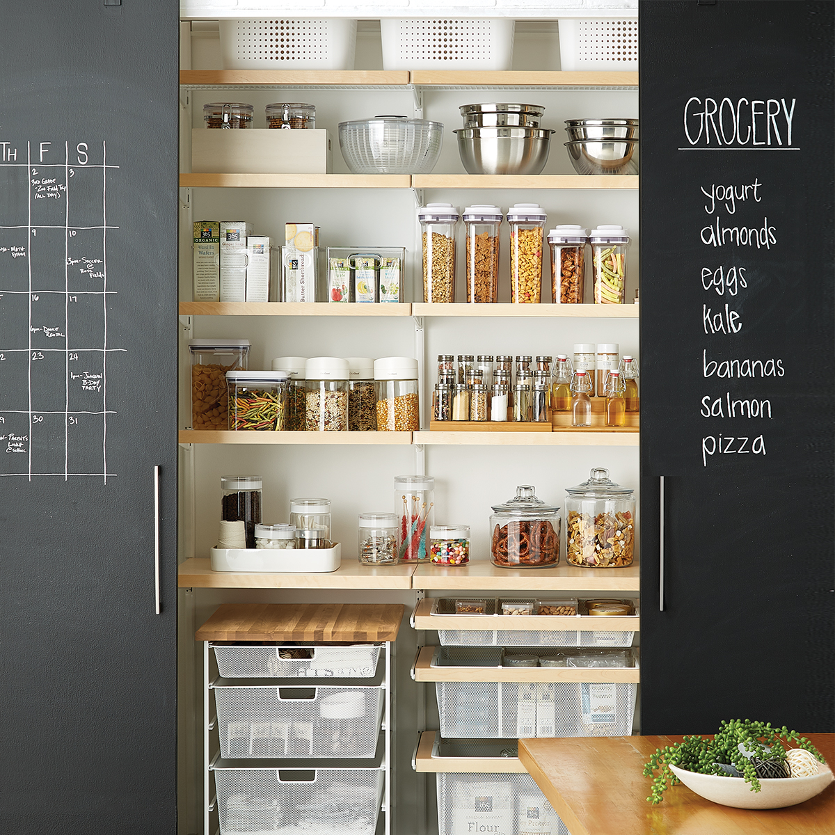 Elfa Décor 4' Birch & White Reach-In Pantry