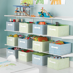 White Elfa Activity Room Shelving