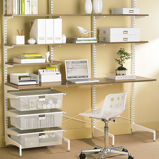 Coffee & White elfa freestanding Office